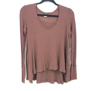 Free People Waffle Knit Top Long Sleeve Size XS